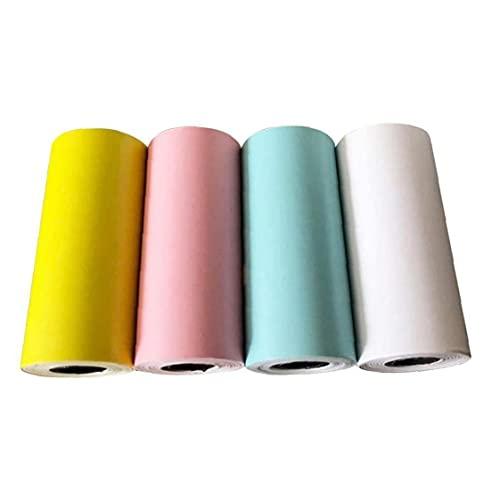 Thermische Papierrolle Thermaldruck Aufkleber Selbstklebende Rechnung Quittung Foto Druck Papier Bunte 4 stücke Gelb + Rosa + Blau + Weiß