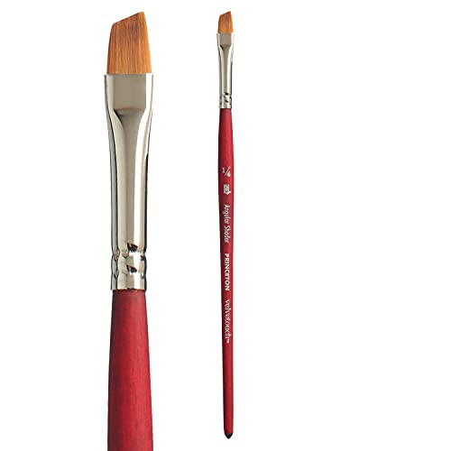 Princeton Velvetouch, Series 3950, Paint Brush for Acrylic, Oil and Watercolor, Angle Shader, 1/4 Inch