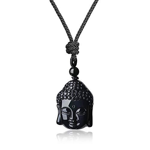 coai Geschenkideen Buddha Kopf Anhänger aus Obsidian Buddhistische Glückskette für Damen und Herren