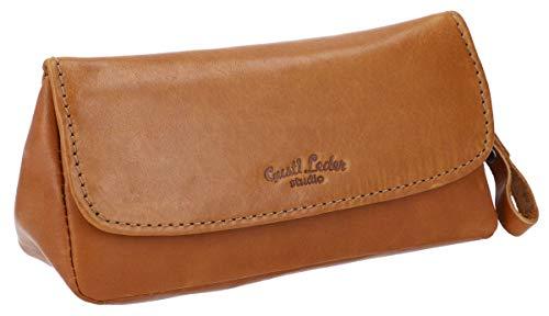 Gusti Leder studio   Jared   borsetta porta pipa per tabacco con vano porta tabacco con stoffa interna di gomma naturale marrone 2T6-22-5