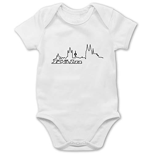 Städte & Länder Baby - Köln Skyline - 6/12 Monate - Weiß - köln Skyline Body - BZ10 - Baby Body Kurzarm für Jungen und Mädchen