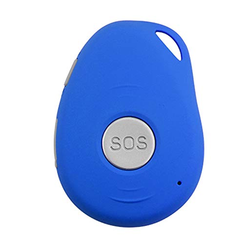 HAJZF Impermeable Rastreador GPS gsm GPRS SOS Localizador Personal para Personas Mayores En Los Niños Se Caen De Alarma Seguimiento En Tiempo Real Geo-Cerca De Exceso De Velocidad Alerta,Azul
