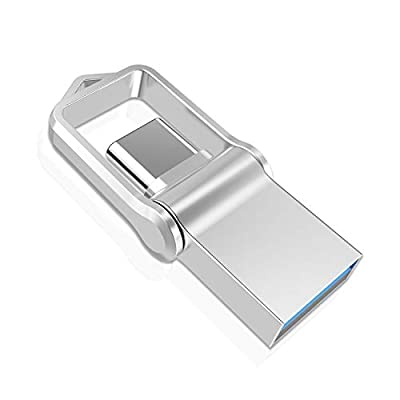 TOPESEL 32GB Mini USB 3.0 Type C Dual USB Memory Stick, OTG High Speed Waterproof Flash Drive Thumb Drive, Pen Drives for Type-C SmartPhone, Tablet, Pixel, PC - Silver