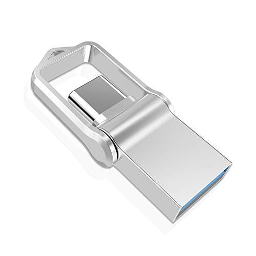 Memoria USB Tipo C 128GB, TOPESEL Pendrive USB C 3.0 OTG USB Stick 2 en 1 Dual Flash Drive Impermeable Mini Llave USB para Móviles/MacBook/Google Chromebook Pixel/Samsung Galaxy/Huawei, Plata