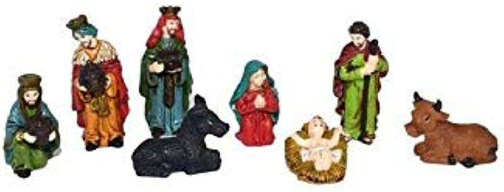 2s mini presepe completo natività personaggi 6 cm, con 8 soggetti in resina