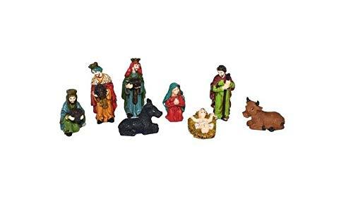 Mini Presepe Completo Natività Personaggi 6 cm, con 8 soggetti in Resina