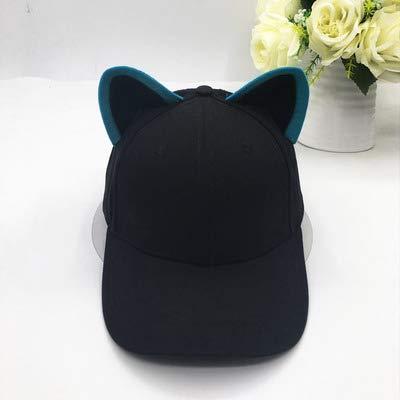 Gorra de béisbol con orejas de gato para mujer y niña, hecha de algodón puro ecuestre gorra femenina linda sombrero de ala ancha (color: )8Y, tamaño: oreja negra borde azul)