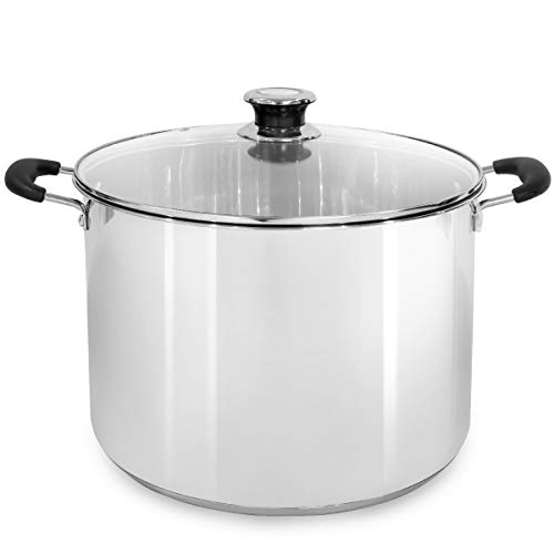 Barton 20 Quart Multi-Use Canner with Temperature Indicator Able to Hold 7 Quart Jars w/Rack, Stainless Steel
