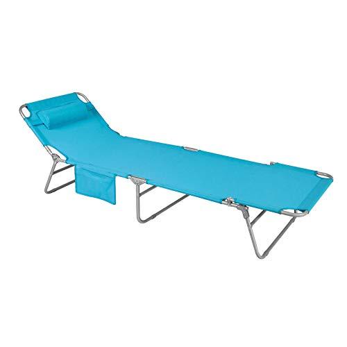 SoBuy OGS35-B Gartenliege Sonnenliege Relaxliege mit Seitentasche Liegestuhl klappbar Strandliege blau