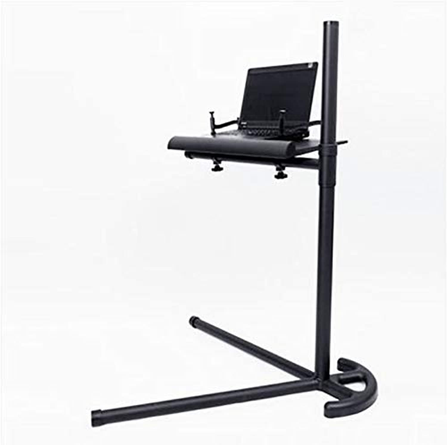 AY-Desk Lapdesks Portable Floor-Standing Computer Desk, with Heat Dissipation Adjustable Height Length May Extend, Aluminum Alloy, Suitable for Home Office Dormitories (color   Black)