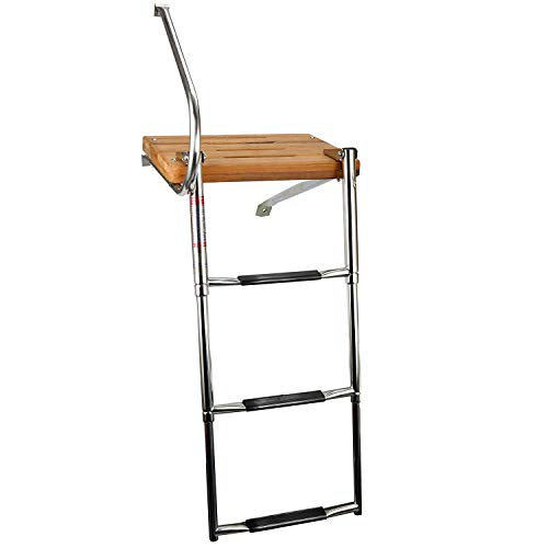 YaeMarine 3 Steps Stainless Boat Ladder Out-Board Swim Folding Ladders Boat Boarding Ladder Swim Platform Outboard Ladder Telescopic Ladder with Rails