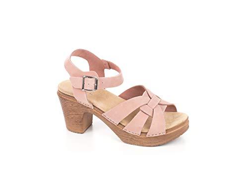 Calou Stockholm Clogs Soft High Heel – Swedish Clogs – Black Leather - Clog Sandal Olivia (36 EU, Pink)
