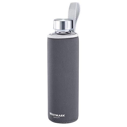 Westmark Botella para beber, De vidrio con impresión, Incl. cubierta protectora, 550 ml, Vidrio/silicona/caucho, Sin BPA, Viva, Antracita/plata/transparente, 5272226A