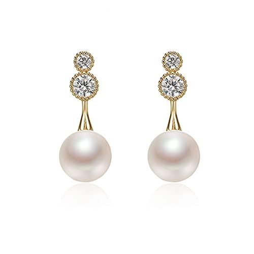 hkwshop Pendientes Mujer Pendientes de Perlas de Agua Dulce de Plata S925 6-7mm Pendientes de Moda de Moda Redondos Stud Pendientes