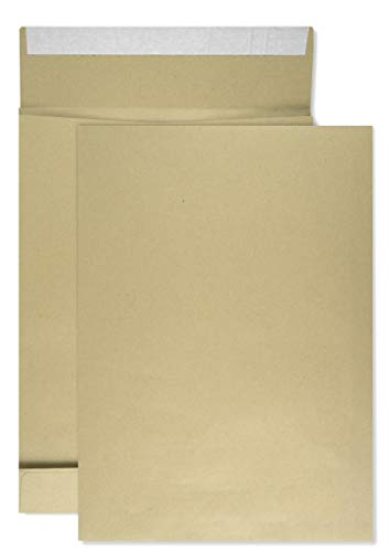 50 x braune Faltentaschen DIN B4 250× 353 mm 130g Kapazität-Versandtaschen haftklebend ohne Fenster Falten-Umschläge Briefumschläge B4 mit Bodenfalte Brief-Kuverts mit Falten große Umschlagtaschen
