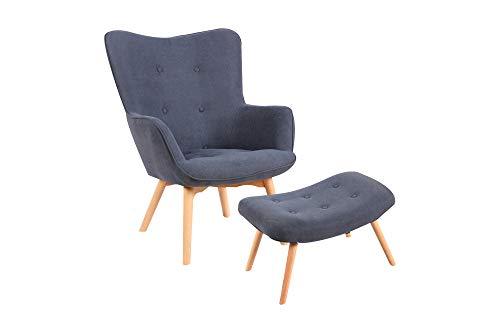 HOMEXPERTS Sessel Aron / Polstersessel mit grauem Webstoff / Füße Massivolz / Relaxchair / Stuhl / Wohnzimmerstuhl / Schlafzimmermöbel / Sitz-Garnitur / 73 x 97 x 81 cm (BxHxT)