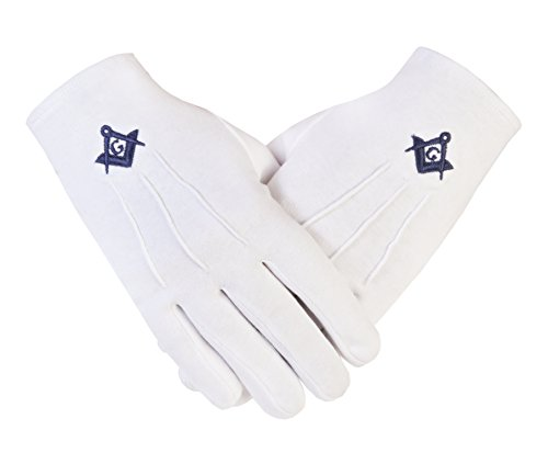 Freemasons Masonic Cotton Gloves with Embroidered N Blue Square & Compass with G SC&G Size XL(PCI)