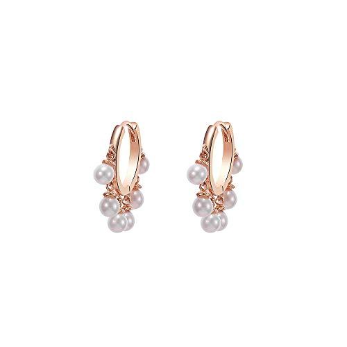 Orecchini a cerchio da donna con luminose perle pendenti, ipoallergenici, placcati in argento e in oro rosa, idea regalo per mamma e amiche e Rame, colore: Oro rosa, cod. TEH0337-RG