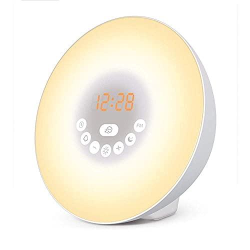 WWXL Reloj Despertador Reloj Despertador Pronósticos Control táctil Reloj Despertador Radio FM Salida del Sol y Puesta del Sol Reloj Digital analógico Mesita de Noche para Oficina en casa E
