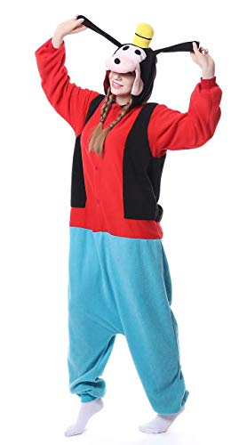 Dorliki Pijama Onesie de forro polar para adultos, disfraz de animal, Halloween, Navidad, cosplay, Goofy., M