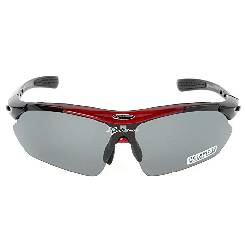 RockBros Polarized Cycling Sonnenbrille Brille Brille Sportbrille 5 Objektive 151 * 43 mm/Rot