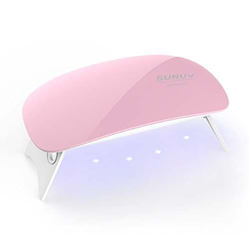 SUNUV UV Nail Lamp,Mini2 6W LED Nail Lamp for Gel Polish with 2 Timing Setting (45s/60s) (Pink)