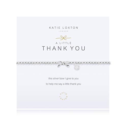 Katie Loxton A Little Thank You Bow Silver Women's Stretch Adjustable Charm Bangle Bracelet