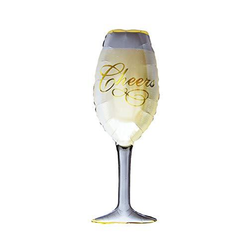 Oblique Unique® Folien Luftballon XXL Champagner Sekt Flasche oder Glas als JGA Hochzeit Jubiläum Geburtstag Party Deko - Ballon Wählbar (Sekt Glas)