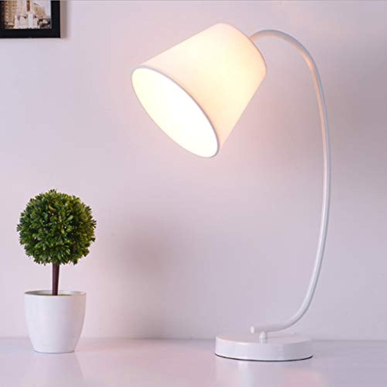 Moderne moderne minimalistische Schreibtischlampe Persnlichkeit Stoff Schlafzimmer Schlafzimmer Kopfende kreative Tischlampe Kunst Licht (Farbe   Weiß-20  51cm)