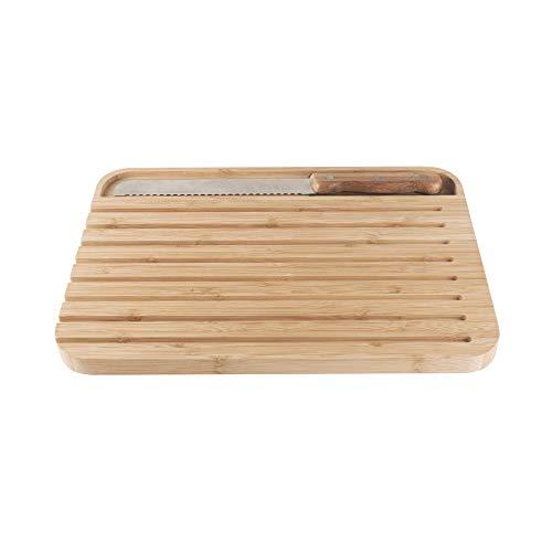 Pebbly NBA127 - Tabla grande de bambú con cuchillo magnético en la...