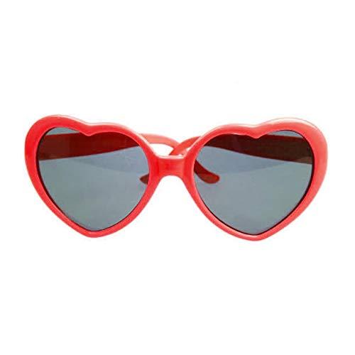 Gafas de sol de moda en forma de corazón con marco de plástico UV400 Espejo unisex Gafas de sol Niños encantadores Adultos Gafas para viajar - Rojo