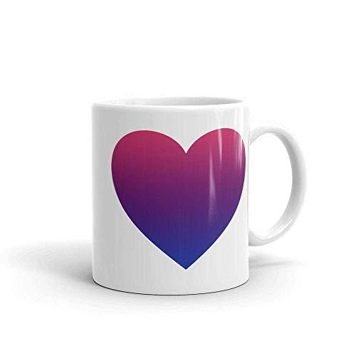 N\A Taza de cerámica del Coffee del corazón de la Pendiente del | Taza de la Bandera del BI | Taza del Orgullo de LGBT | Taza Celebración del Orgullo