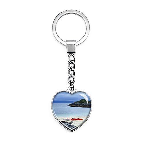 Schlüsselanhänger, Motiv: UK England Schottland Arisaig Sea Kayak Zentrum Schlüsselanhänger, kreativ, doppelseitig, herzförmig, Kristall, Reise-Souvenir, Metall