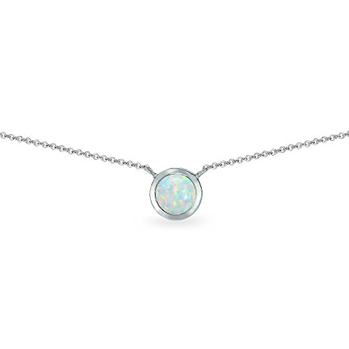 Sterling Silver Synthetic White Opal 6mm Round Solitaire Bezel-Set Dainty Choker Necklace for Women Teen Girls