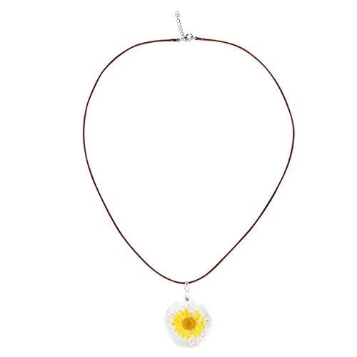 Holibanna Colar de flor de margarida natural prensado colar com pingente de resina colar bonito pingente de joia para meninas e mulheres