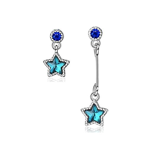 DFDLNL Conjuntos de Pendientes para Mujer Aros Exquisitos Pendientes de Estrella de Cristal Azul Marino asimétricos Pendientes de Borla para Mujer