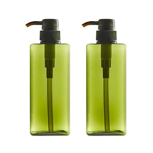 TOPBATHY 2pcs 280ml Rechargeable en Plastique Crème Lotion en Plastique Distributeur Pulvérisateur Carré Bouteilles pour Cosmétique Shampooing Liquide Savon