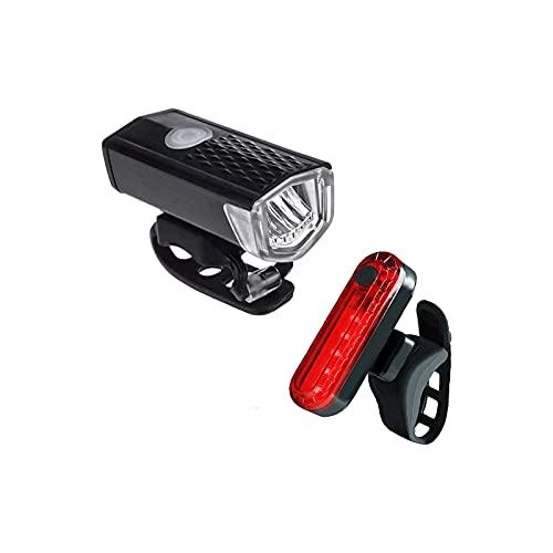 WGLL USB Juego de Faros Superiores Recargables y luz Trasera, 300 Lumen Brillante Ciclismo - reflectores Traseros de Cola de Faro