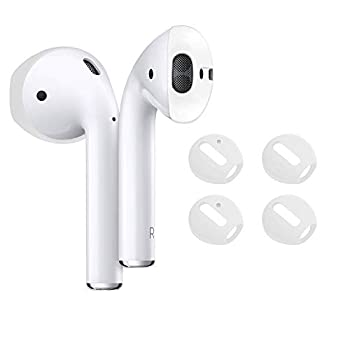 DamonLight {Fit in The case} Airpods Earpods Covers Anti-Slip Silicone Soft Sport Covers Accessories for AirPods Earbud AirPods Ear Tips 2 Pairs  White