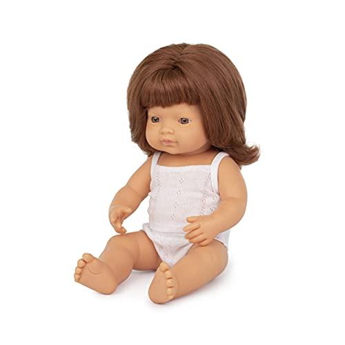 Miniland – Muñeco bebé Europea Niña Pelirroja de Vinilo Suave de 38cm con rasgos étnicos y sexuado para el Aprendizaje de la Diversidad con Suave y Agradable Perfume. Presentado en Caja de Regalo.