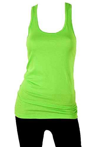 Sofra Women's 100% Cotton Racerback Tank Top-Small-Lime Green