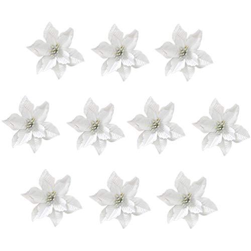 STOBOK Glitzer Christbaumschmuck Silber Kunstblume für Christbaumschmuck, 24tlg