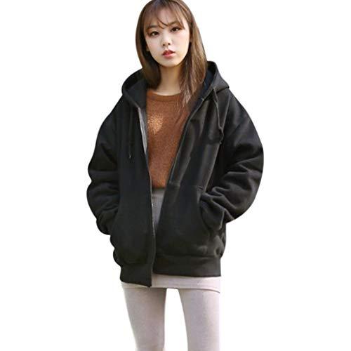 Sudaderas Mujer BaZaHei Abrigo suéter con Cremallera y cordón de Color Liso...