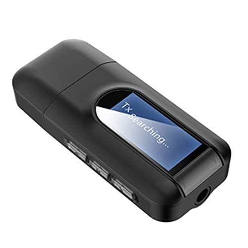 BiaBai Pantalla LCD Adaptador de audio inalámbrico Transmisor receptor de audio 3 en 1 Conector de 3,5 mm Adaptador USB estéreo PC TV
