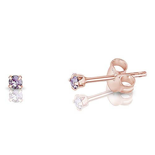 DTPSilver - 925 Sterling Silver Rose Gold plated Round TINY Stud Earrings made with Glittering Crystals from Swarovski Elements - Diameter: 2 mm - Colour : Violet