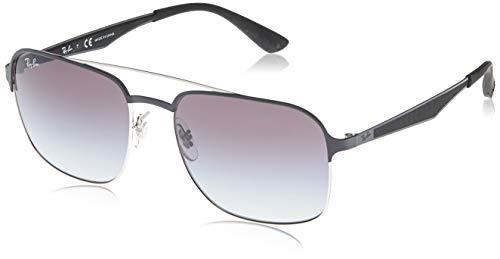 Ray-Ban 3570 Gafas de Sol, Silver Top Black, 58 Unisex-Adulto