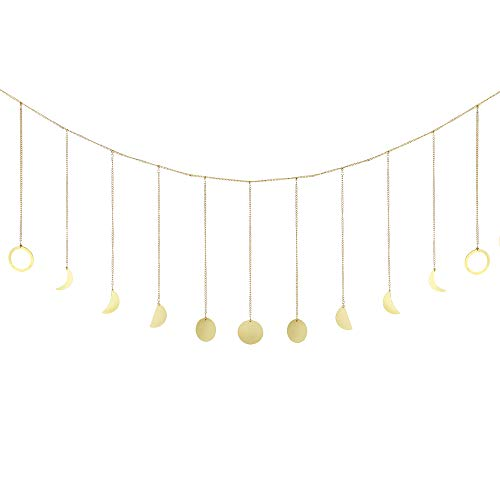 Febou Moon Phase Wall Hanging Moon Garland with Metal Chains Boho Chic Home Decoration Moon Banner Wall Hang Art Decor for Bedroom Headboard Living Room Dorm Apartment