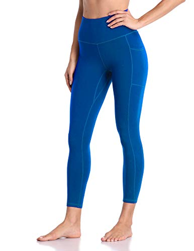 Colorfulkoala Women's High Waisted Yoga Pants 7/8 Length Leggings with Pockets (M, Sapphire Blue)