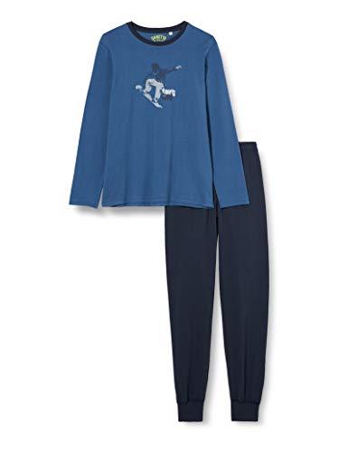 Sanetta Jungen Schlafanzug Blue Sportiver Pyjama coolen Snowboarder-Artwork, blau, 128