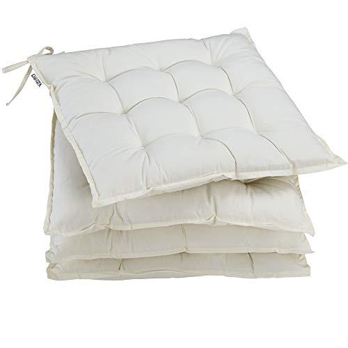 Deuba 4X cojínes Cozy Crema para sillas almohadones Interior y Exterior Acolchado con Cintas de sujetación 41x41cm